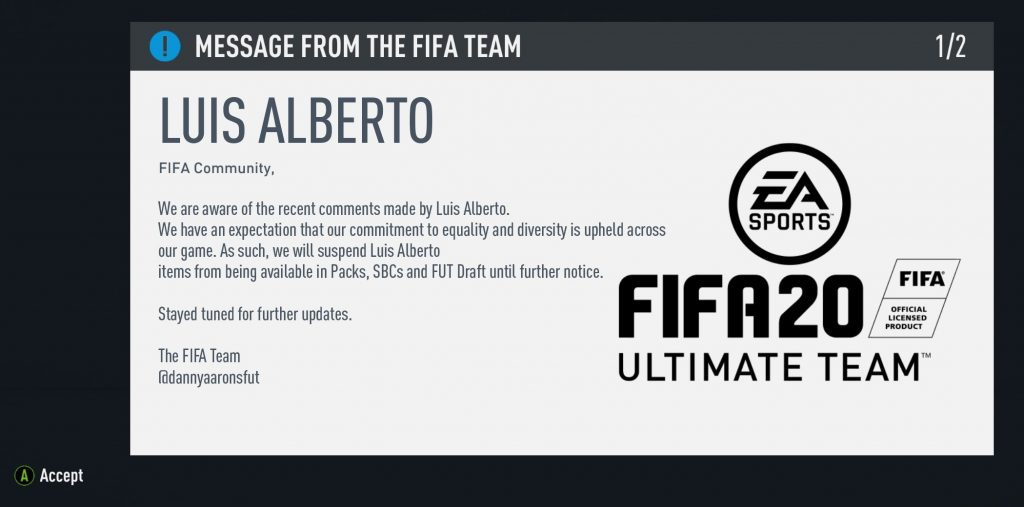 Luis Alberto FIFA 20 bugs